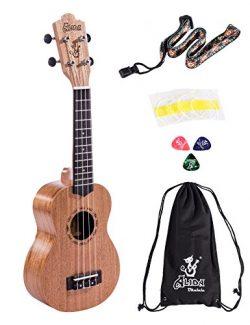 Alida Ukuleles Mahogany Soprano Ukulele Bundle included Carrying Bag, Strap, Spare Strings and P ...