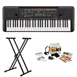 Yamaha PSRE263 61-Key Portable Keyboard with Knox Stand and Survivalkit (Includes Power Supply a ...