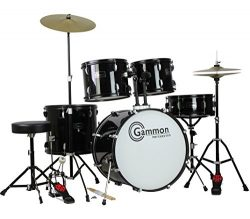 Gammon Percussion Full Size Complete Adult 5 Piece Drum Set with Cymbals Stands Stool and Sticks ...