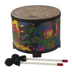 Remo KD-5080-01 Kids Percussion Floor Tom Drum – Fabric Rain Forest, 10″