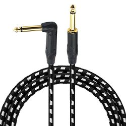 1/4 Inch Cable Guitar Cable 10 Ft Right Angle To Straight 6.35mm Gold Plugs Electric Instrument  ...