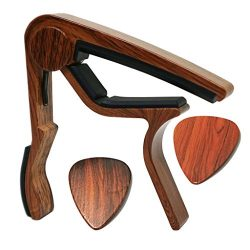 MOREYES Guitar Capo for Acoustic Guitar ,Ukelele, Electric Guitar,Bass with Wood Color Guitar Pi ...