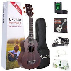 Ukulele Soprano Mahogany Ukelele Uke With Beginner Kit ( Ukele Gig Bag Tuner Strap String Instru ...