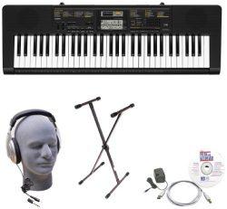 Casio Inc. CTK2400 EPA 61-Key Premium Keyboard Package with Samson HP30 Headphones, Stand, Power ...