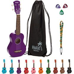 Soprano Ukulele Bundle by Hola! Music, HM-21PP Color Series with Aquila strings, Canvas Tote Bag ...