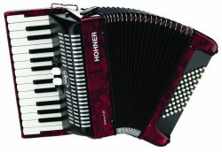 Hohner Accordions BR48R-N 26-Key Piano Accordion, 48 Bass, Red