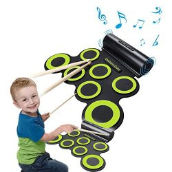 Rechargeable Electronic Roll-Up Drum Kit, Foldable Drum Set Built in Speaker With DrumSticks, Fo ...