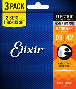 Elixir Strings 16540 Electric Guitar Strings with NANOWEB Coating, 3 Pack, Super Light (.009-.042)