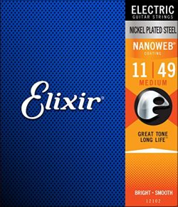Elixir Strings Electric Guitar Strings w NANOWEB Coating, Medium (.011-.049)