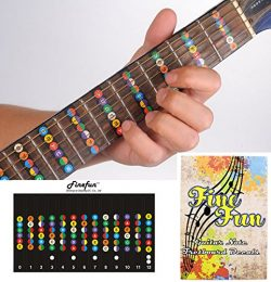 Guitar Fretboard Note Decals Fingerboard Frets Map Sticker for Beginner Learner Practice Fit 6 S ...
