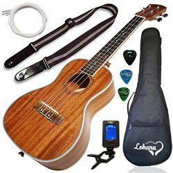 Ukulele Concert Size Bundle From Lohanu (LU-C) 2 Strap Pins Installed FREE Uke Strap Case Tuner  ...