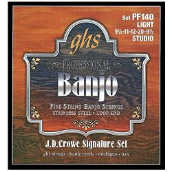 GHS Strings PF140 J.D. Crowe Signature Series (Studio), 5-String Stainless Steel Banjo Strings ( ...