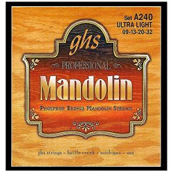 GHS Strings A240 Phosphor Bronze Mandolin Strings, Loop End, Ultra Light (.009-032)