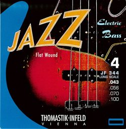 Thomastik-Infeld JF344 Bass Guitar Strings: Jazz Flat Wounds 4-String Long Scale Set; Pure Nicke ...
