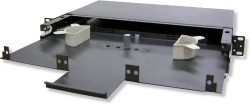 Lynn Electronics 1U Fiber Optic Rackmount Enclosure Panel, holds 3 LGX footprint panels or modul ...