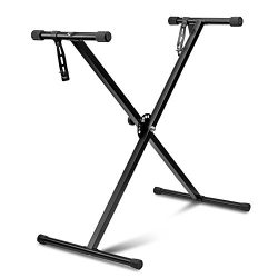 Flexzion Classic Keyboard Stand Musician Electronic Piano Organ Single Tube X Type 7 Position Fo ...
