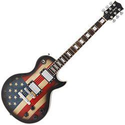 Single cut Custom Electric guitar with flag sticker design (US Flag)