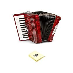 Hohner 1304-RED 26 Key Accordion, 48 Bass Style Keyboard Piano Accordion in Red Bundle with Zorr ...