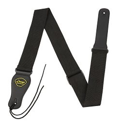 Donner DR-1 Bass Guitar Strap Density Soft Cotton 5cm Width Thick Leather End Black
