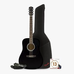 Squier by Fender Dreadnought Acoustic Guitar with Clip-On Tuner, Strap , Ball End Strings , Clas ...