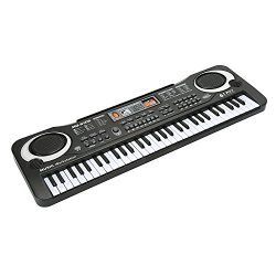 JINRUCHE 61 Keys Black Electronic Organ Kids Piano Multifunctional Instruments With Microphone a ...