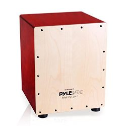 Pyle Snare Style Birch Wood Compact Acoustic Jam Cajon – Wooden Hand Drum Percussion Beat  ...