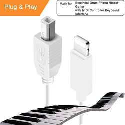 Lightning to MIDI Instruments for Electronic Organ Drum, USB 2.0 Lightning to Type-B, Compatible ...
