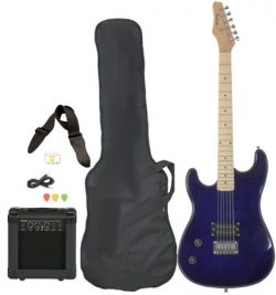 Davison Guitars Full Size Black Electric Guitar with Amp, Case and Accessories Pack Beginner Sta ...