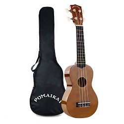 POMAIKAI Soprano Ukulele 21 Inch with Gig Bag for kids Students and Beginners (Brown)