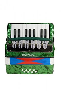 Baronelli Green Beginner Educational 17 Key Junior Accordion with adjustable Straps, & Direc ...