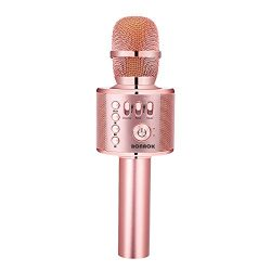 BONAOK Wireless Karaoke Microphone Rose Gold Plus, Mother's Day Gift 3-in-1 Portable Built ...