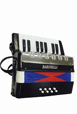 Baronelli Black Beginner Educational 17 Key Junior Accordion with adjustable Straps, & Direc ...