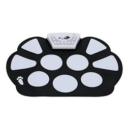 Coondmart Portable Electronic Roll up Drum Pad Kit Silicon Foldable with Stick Children's  ...
