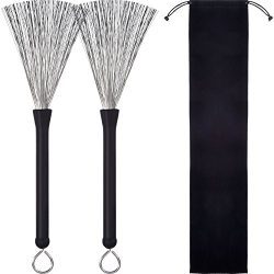 Pangda 1 Pair Drum Brushes Retractable Wire Brushes Drums Drum Sticks Brush with Comfortable Rub ...