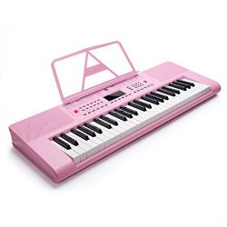 Vangoa VGK4900 Pink 49-Key LCD Display Screen Electronic Digital Piano Keyboard with Mic & P ...