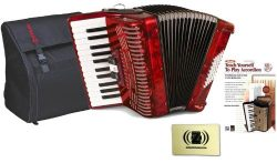 Hohner Accordions 1304-RED 73-Key 48-Bass Accordion Bundle with Hohner AGB-48 Gig Bag, Alfred ...