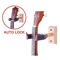 Ukulele Wall Hanger Auto Lock Safety Wooden Wall Mount Holder, Guitar hanger and Mandolin Hanger ...