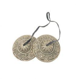 Tingsha Cymbals Tibetan Buddhist Lucky Symbol Embossed Meditation Yoga Bell Chimes (Medium, Silv ...