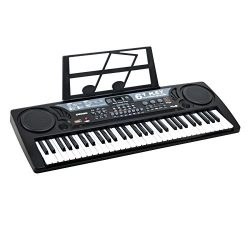Plixio 61 Key Mid-Size Electric Piano Keyboard with USB & MP3 Input- Portable Electronic Mus ...