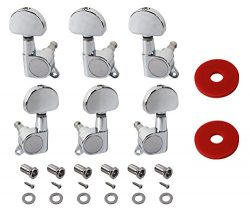 YMC TP20 Series 6 Pieces Guitar Parts 3 Left 3 Right Machine Heads Knobs Guitar String Tuning Pe ...