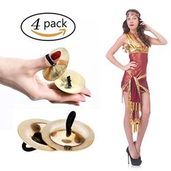 Finger Cymbals, LLOP 4pcs Mini Music Instrument Rhythm Maker Finger Cymbals Belly Dancing Gold M ...