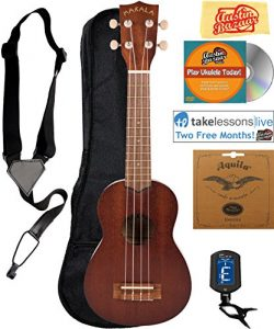 Kala MK-S Makala Soprano Ukulele Bundle with Gig Bag, Tuner, Strap, Strings, Online Lessons, Aus ...