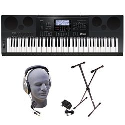 Casio Inc. WK7600 PPK 76-Key Premium Portable Keyboard Package with Headphones, Stand and Power  ...