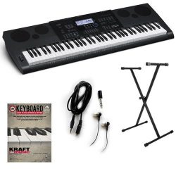 Casio WK6600 76-Key Workstation Keyboard with Power Supply, Adjustable X-Style Stand, In-Ear Ste ...