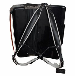 MUSIC FIRST Black & White Genuine Leather Super Wide Thick Comfortable 96 120 BASS Accordion ...