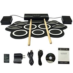Portable Electronic Drum Set Roll-Up Drum Kit,9 Electric Drum Pads Built in Rechargeable Battery ...