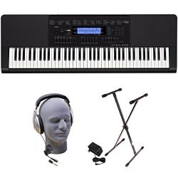 Casio Inc. WK245 PPK 76-Key Premium Portable Keyboard Package with Headphones, Stand and Power S ...