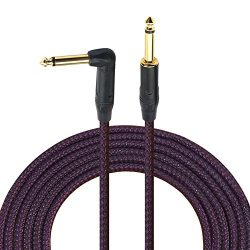 6.35mm Guitar Cable 10 Ft Pro 1/4 Inch Instrument Cable Amp Cord With Right Angle To Straight Go ...