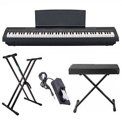 Yamaha P125 88 Weighted Key Digital Piano Bundle with Knox Double X Stand, Knox Large Bench and  ...