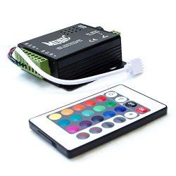HitLights LED Light Strip Music Controller 12V-24V, Sound Activated – Includes 24 key remo ...